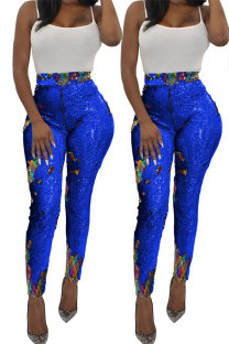 Blue Polyester Elastic Fly High Sequin Skinny Pants  YS52158