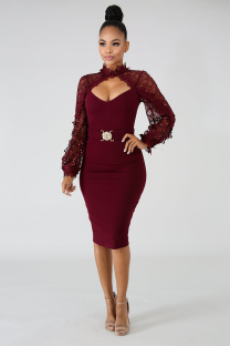 Wine Red Fashion Long Sleeves O neck Slim Dress Knee-Length lace Mesh Patchwork  OS41782