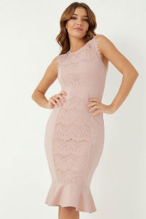 Pink Fashion Sleeveless O neck Mermaid Knee-Length Patchwork lace Solid  Lace Dresses LR17879