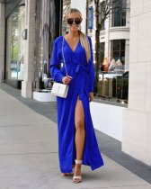 Blue Fashion Long Sleeves Mandarin Collar Slim Dress Ankle-Length  Casual Dresses GG45424