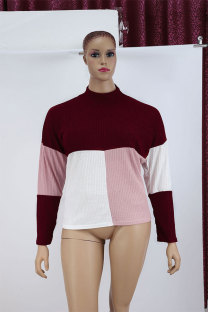 Red Cotton O Neck Long Sleeve Patchwork  Sweaters & Cardigans MY111157