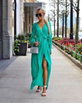 Green Fashion Long Sleeves Mandarin Collar Slim Dress Ankle-Length  Casual Dresses GG45424