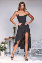 Black Sexy Spaghetti Strap Short Sleeves O neck Asymmetrical Knee-Length Solid ruffle  Casual Dresses ON581187