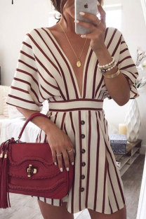 Red Sexy Fashion Cap Sleeve Half Sleeves V Neck A-Line Mini Print Striped Patchwork  Print Dresses LM271450