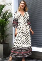 Black Casual Bohemian V-Neck 3/4 Sleeve Loose Long Bohemian Dresses
