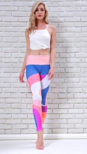 Photo Color Polyester Spandex Active Solid Patchwork Ankle-Length Leggings
