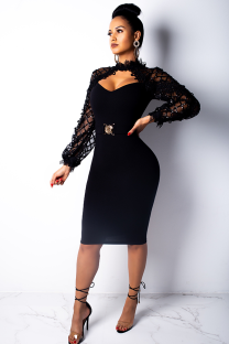 Black Fashion Long Sleeves O neck Slim Dress Knee-Length lace Mesh Patchwork  OS41782