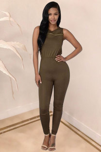 Army Green Polyester Sleeveless Mid Solid pencil Pants  Jumpsuits & Rompers QM311163