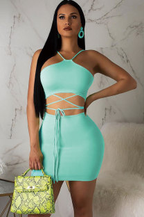 Blue Polyester Fashion Vintage Bandage Patchwork Solid Hip skirt  Two-Piece Dress MT741185