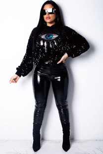 Black O Neck Sequin Velvet Long Sleeve  Sweats & Hoodies OS41962