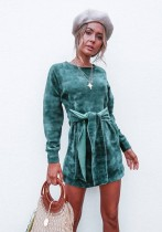 Green Brief Cute O-Neck Long Sleeve Princess dress skirt Club Dresses