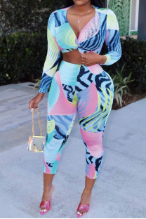 Multi-color Polyester Sexy Fashion Print Patchwork pencil  Two-piece Pants Set MK021164