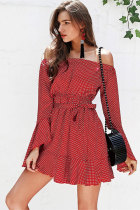 Red Sexy Fashion Off The Shoulder Long Sleeves One word collar A-Line Mini Solid bandage Patchwork  Club Dresses LM271457