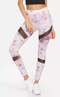Pink Polyester Spandex Active Print Ankle-Length Leggings