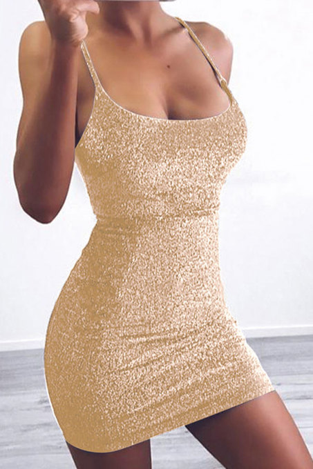 Gold Sexy Fashion Spaghetti Strap Sleeveless Slip Hip skirt Mini backless Solid Patchwork  Club Dresses LM271451