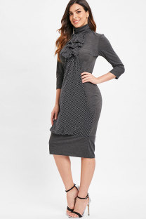 Grey Fashion 3/4 Length Sleeves Turtleneck Slim Dress Knee-Length Polka Dot  Vintage Dresses SJ381042