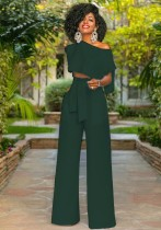 ArmyGreen Plain Mid Waist bandage Two-piece suit