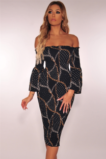 Gold Sexy Fashion Off The Shoulder Long Sleeves One word collar Step Skirt Knee-Length Print Patchwork  Club Dresses LR2610130