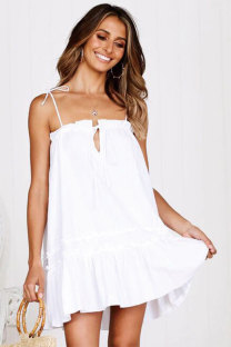 White Fashion Sexy Spaghetti Strap Sleeveless Slip A-Line Draped Patchwork Solid  Club Dresses LM271454