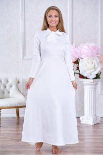 White Vintage Long Sleeves O neck A-Line Ankle-Length  Vintage Dresses SJ381001