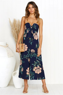 Navy Blue Polyester Sleeveless Print Straight Pants  Jumpsuits & Rompers ON581193