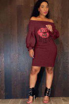 Wine Red Sexy Fashion lantern sleeve Off The Shoulder Long Sleeves One word collar Step Skirt Knee-Length Patchwork Print  LB701158