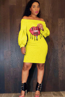 Yellow Sexy Fashion lantern sleeve Off The Shoulder Long Sleeves One word collar Step Skirt Knee-Length Patchwork Print  LB701158