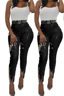 Black Polyester Elastic Fly High Sequin Skinny Pants  YS52158
