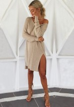 apricot Cute Sexy & Club Long Sleeve Loose Middle length skirt Club Dresses