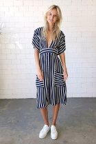 Navy Blue Fashion Short Sleeves V Neck A-Line Mid-Calf Striped backless  Casual Dresses ON581169