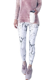 White Elastic Fly Print pencil Pants  SN47625