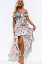 Multi-color Sexy Fashion Spaghetti Strap Sleeveless Slip Asymmetrical Ankle-Length asymmetrical Print bandage ruffle  Bohemian Dresses LH351184