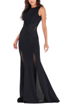 Black Sexy Sleeveless O neck Mermaid Floor-Length Patchwork  Party and Cocktail Dresses LR17848