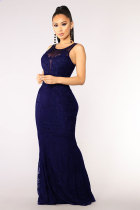 Navy Blue Fashion Sexy Tank Sleeveless O neck Slim Dress Floor-Length hollow out Patchwork  Casual Dresses LR171164