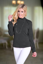 Grey Turtleneck Long Sleeve Solid  Long Sleeve Tops SJ38994