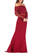 Red Sexy Off The Shoulder Long Sleeves One word collar Slim Dress Floor-Length Patchwork  LR17850