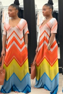 As Show Casual V-Neck Short Sleeve A-Line Long Maxi Dresses
