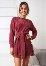 Red Brief Cute O-Neck Long Sleeve Princess dress skirt Club Dresses