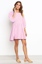 Pink Casual 3/4 Length Sleeves O neck A-Line skirt Solid  Casual Dresses ON581173
