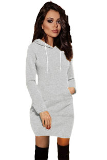 Light Gray hooded Solid Polyester Long Sleeve  Sweats & Hoodies ON58980