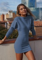 Blue Brief Cute O-Neck Long Sleeve Princess dress Middle length skirt Club Dresses