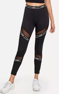 Black Spandex polyester Active Solid Letter Patchwork Ankle-Length Leggings