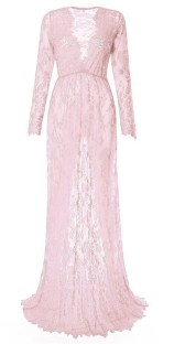 Pink Sexy & Club V-Neck Long Sleeve Long Sleeve A-Line Long Maxi Dresses