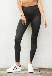 Black Cotton Milk Silk Active Solid High waist Ankle-Length Leggings
