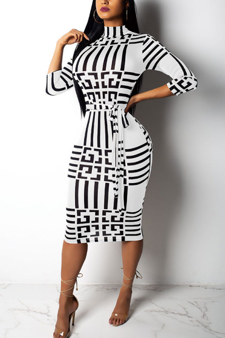 White Sexy Fashion Cap Sleeve Long Sleeves O neck Pencil Dress Knee-Length Print chain Patchwork  SMR39828