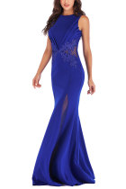Blue Sexy Sleeveless O neck Mermaid Floor-Length Patchwork  Party and Cocktail Dresses LR17848