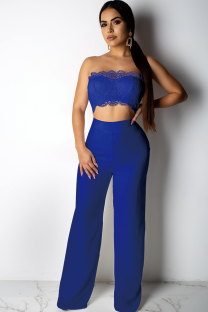 Blue Polyester Fashion Sexy Patchwork Solid Lace Trim Casual  Two-piece Pants Set DZ1167