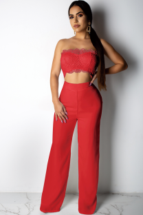 Red Polyester Fashion Sexy Patchwork Solid Lace Trim Casual  Two-piece Pants Set DZ1167