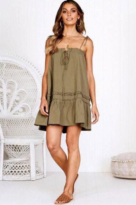 Army Green Fashion Sexy Spaghetti Strap Sleeveless Slip A-Line Draped Patchwork Solid  Club Dresses LM271454