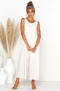 White Polyester Sleeveless Solid backless Loose Capris  Jumpsuits & Rompers ON581202